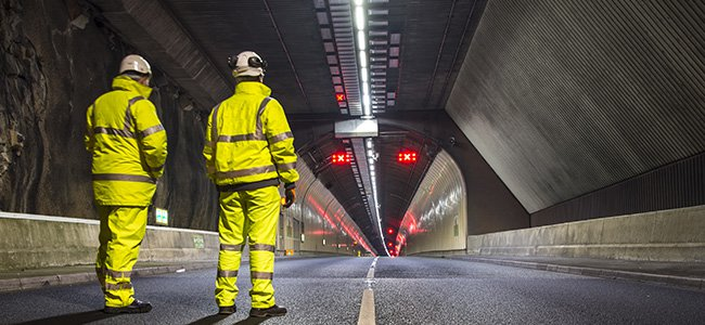 SPIE engineers working on an LED road tunnel installation